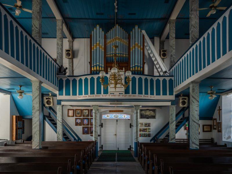 Interior of St. Paul's Lutheran Church in Serbin Showing Organ