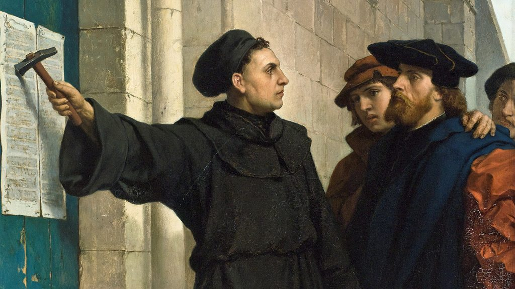 Luther Hammers his 95 Theses to the Door