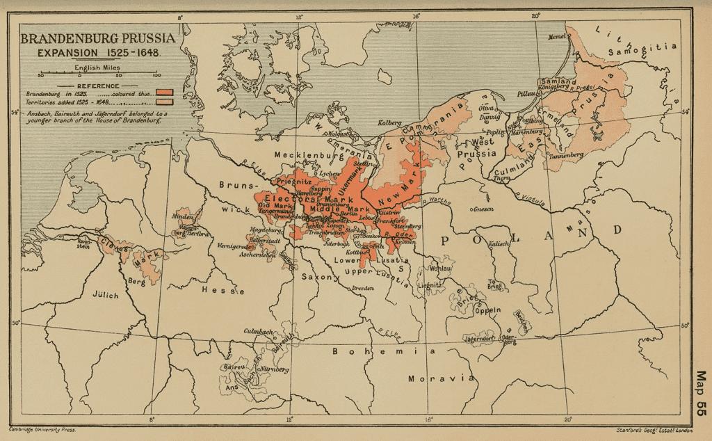 Map of Brandenburg-Prussia 1525-1648